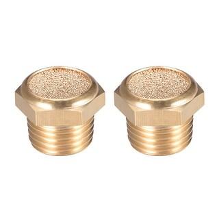"""Brass Exhaust Muffler, 1/4"""" G Male Thread Bronze Muffler w Brass Body Flat 2pcs - 1/4"""" G 2pcs"""