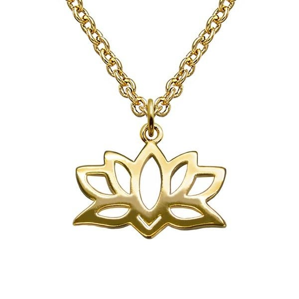"Julieta Jewelry Lotus Gold Charm 16"" Necklace - Thumbnail 0"