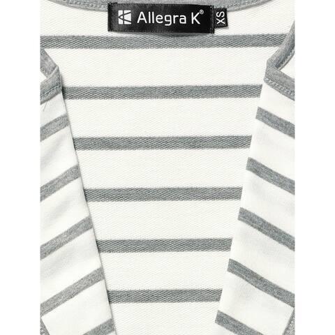 Unique Bargains Ladies Notched Lapel Button Decor Striped Blazer