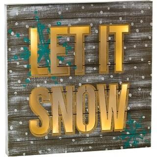 Led Light Up Let It Snow Plaque-