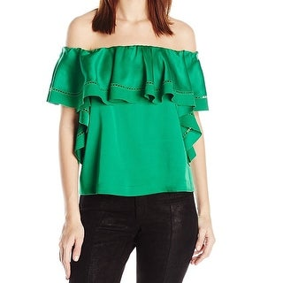 Rachel Zoe Green Womens Size 0 Off Shoulder Ruffle Popover Blouse