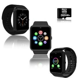 Indigi® Black GT8 Bluetooth SmartWatch & Phone w/ Pedometer + Sedentary Reminder + Camera w/ 32gb microSD Included