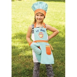 """3-Piece """"Lil' Hoot"""" Girl's Robin Egg Blue Chef's Apron, Hat and Pot Holder Set"""