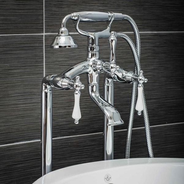 Pelham & White Luxury Tub Filler Faucet, Vintage Design, Floor Mount Installation, Porcelain Handles, Polished Chrome Finish