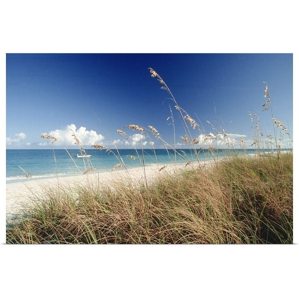 """Beach w/ grass and boat, Palm Beach, FL"" Poster Print"