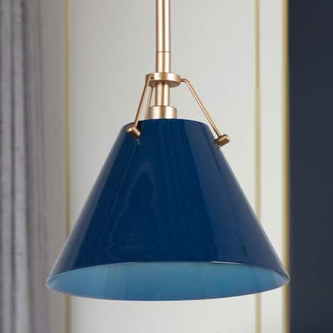 "Modern Farmhouse Mini Gold and Blue Pendant Ceiling Lights - D8""x H 7"""