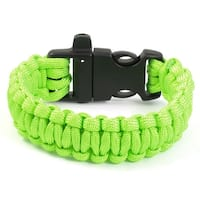 Unique Bargains Outdoor Activities Whistle Plastic Buckle Bright Green Survival Bracelet