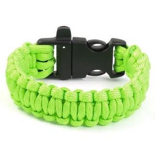 Unique Bargains Outdoor Activities Whistle Plastic Buckle Bright Green Survival Bracelet