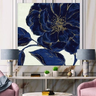 Designart 'Dark Rose Gilded Gold' Floral Canvas Artwork - Blue