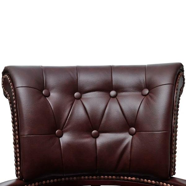Stupendous Shop Vidaxl Brown Real Leather Chesterfield Captains Swivel Machost Co Dining Chair Design Ideas Machostcouk