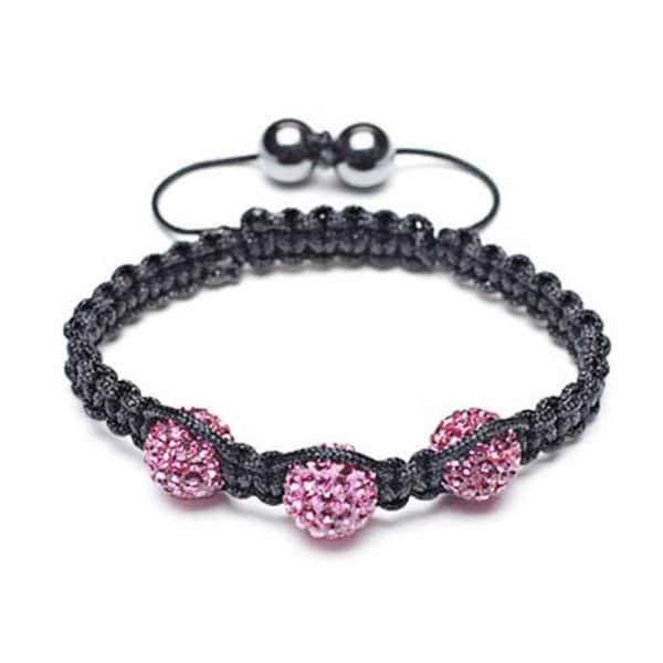 Fuchsia Pink Pave Crystal Ball Shamballa Inspired Bracelet Black Cord. Opens flyout.