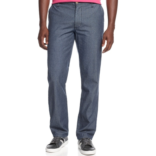 Sean John Casual Striped Navy Blue Cotton Chinos Pants