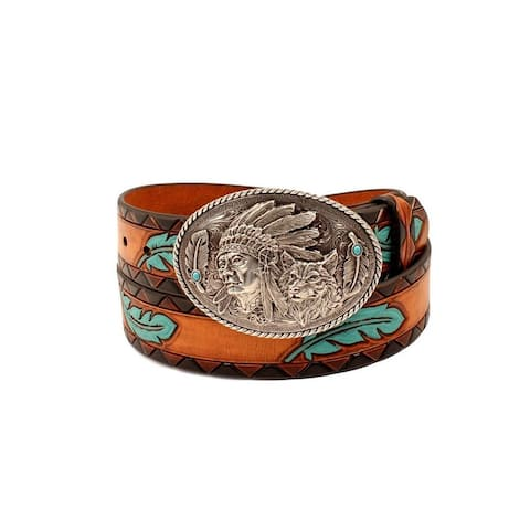 Ariat Western Belt Womens Feathers Aztec Chief Wolf Buckle - Tan