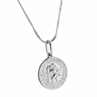 ST. Christopher Protect Medal Design Pendant Sterling 925 Silver 18 Inch Chain