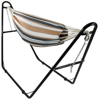 Sunnydaze Jumbo Brazilian 2-Person Double Hammock with Multi-Use Stand and Carrying Pouch, 440 Pound Capacity - Choose Color (2 options available)