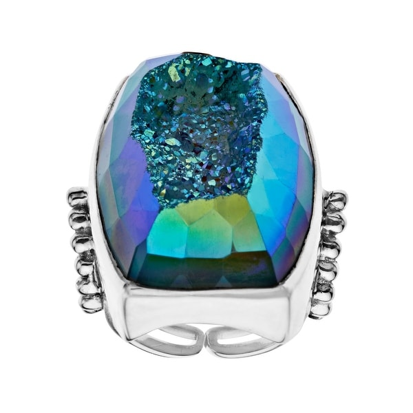 Sajen 31 ct Paraiba Blue Druzy Ring in Sterling Silver