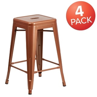 """Link to 4 Pack 24""""H Backless Metal Indoor-Outdoor Counter Height Stool w/Square Seat Similar Items in Dining Room & Bar Furniture"""