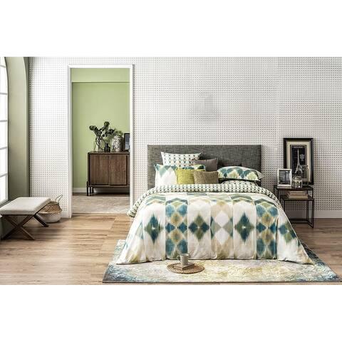 Delara GOTS Certified 100% Organic Cotton Aztec Reversible Print Duvet Cover and Sham Set of 2, Green
