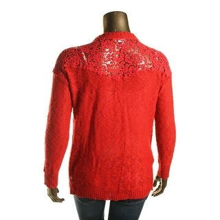 Oh MG! Womens Lace Inset Knit Pullover Sweater
