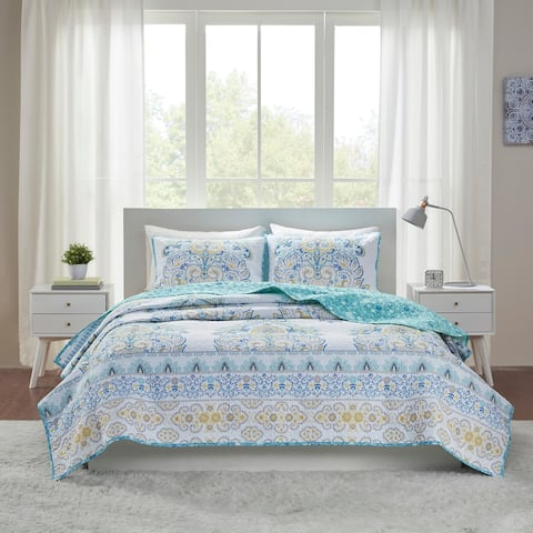 Malia Aqua Printed Reversible Cotton Coverlet Set by Intelligent Design
