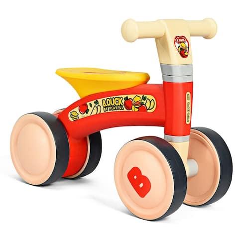 4 Wheels Toddler Balance Bike No Pedal-Red