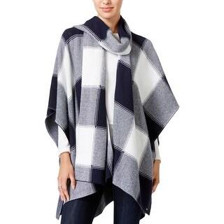Tommy Hilfiger Womens Poncho Sweater Plaid Scarf - o/s