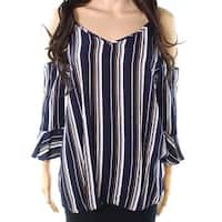 Soprano Blue Womens Size Small S Cold-Shoulder Striped Blouse