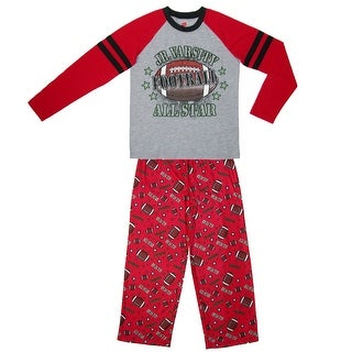 Hanes Boys' Football Long Sleeve Long Leg Pajamas - Red