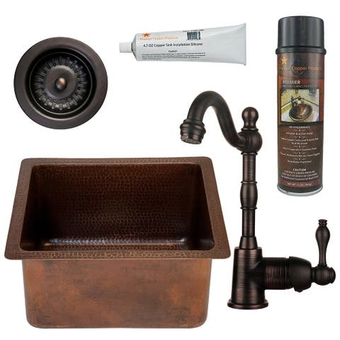 Premier Copper Products BSP4_BREC16DB-D Bar Sink, Faucet and Strainer Drain Package