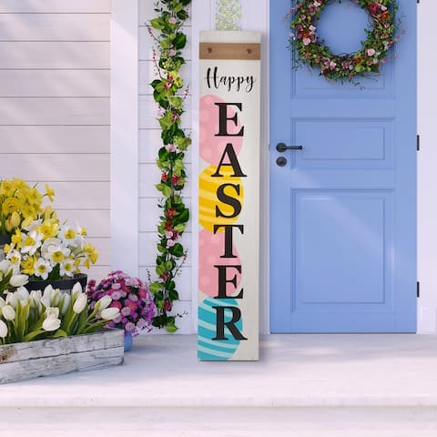 """Glitzhome 42""""H Wooden """"HAPPY EASTER"""" Porch Sign"""