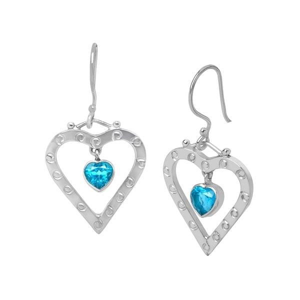 Sajen Natural Blue Topaz Drop Heart Earrings in Sterling Silver