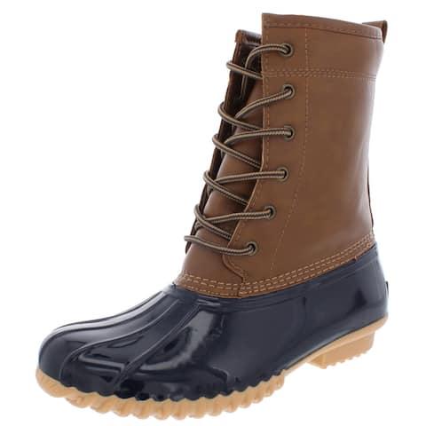 Sporto Womens Ariel Rain Boots Faux Leather Ankle
