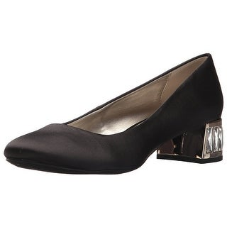 Anne Klein Womens Haedyn Fabric Round Toe Classic Pumps Black Fabric Size 90