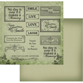 "Vintage Rose Garden Double-Sided Paper 12""X12""-Green Words"