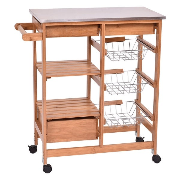 Costway Bamboo Rolling Kitchen Island Trolley Cart Storage Shelf Drawers As Pic