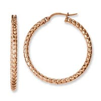 Chisel Stainless Steel Pink IP-plated Textured 30mm Hollow Hoop Earrings