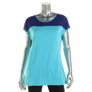 Lauren Active Womens Shaping Tank Top Mesh Trim Mixed Media