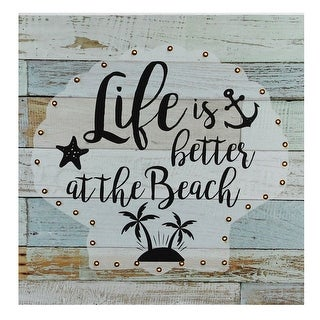 "Battery Operated LED Lighted Beach Wall Art Plaque 12"" x 12"" - Off-white"