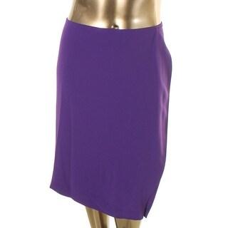 Lauren Ralph Lauren Womens Plus Bassak Pencil Skirt Cascade Ruffle Knee-Length