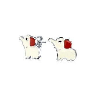 Bling Jewelry Kids Enamel Cartoon Lucky Elephant Stud earrings 925 Sterling Silver 11mm - White
