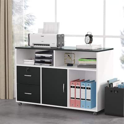 Mobile Lateral Filing Cabinet with Locks & Wheels & 2 Drawer