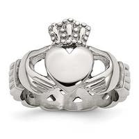 Chisel Stainless Steel Polished Braided Claddagh Ring (6 mm)