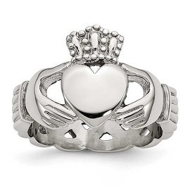 Chisel Stainless Steel Polished Braided Claddagh Ring (6 mm) (More options available)