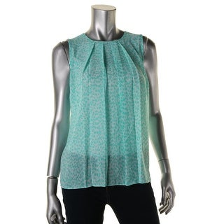 MICHAEL Michael Kors Womens Petites Sleeveless Pattern Pullover Top - pm