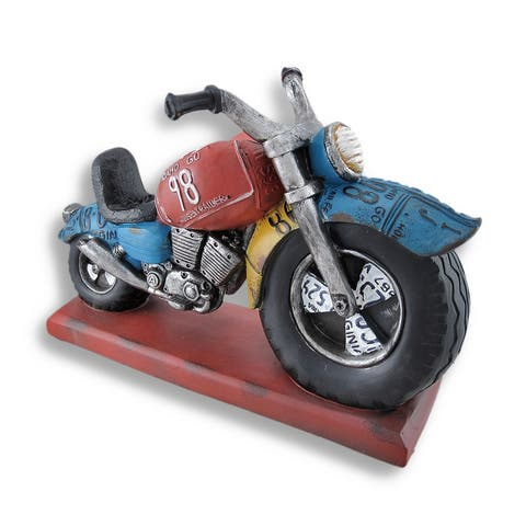 Big Wheel Motorcycle Sculpture Bottle Holder Display - 8 X 12 X 5 inches
