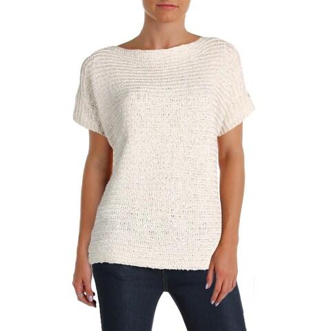 Lauren Ralph Lauren Womens Darbye Pullover Sweater Tape Crochet Short Sleeves