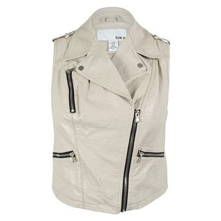 Bar III Women's Faux Leather Moto Vest - white smoke - l