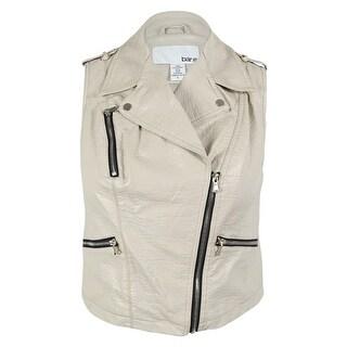 Bar III Women's Faux Leather Moto Vest