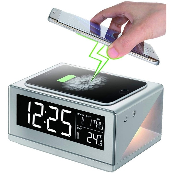 Boytone BT-12W Fast Wireless Charging Digital Alarm Clock with Temperature & Calendar Display, Bed Light Touch Dimmer, Snooze. Opens flyout.
