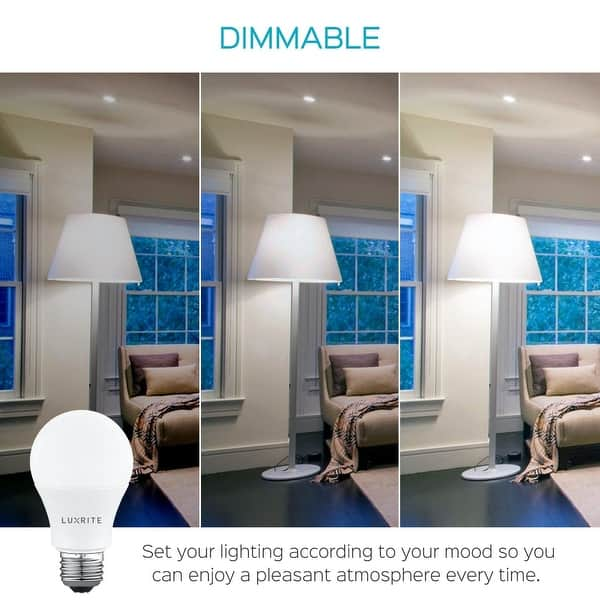 Luxrite A19 Led Light Bulb 60w Equivalent Dimmable 800 Lumens Enclosed Fixture Rated Energy Star E26 Base 4 Pack Overstock 28776113
